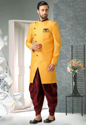 Solid Color Art Silk Dhoti Sherwani in Mustard