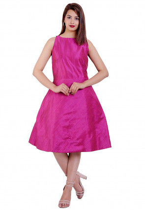Solid Color Art Silk Fit N Flare Dress in Pink