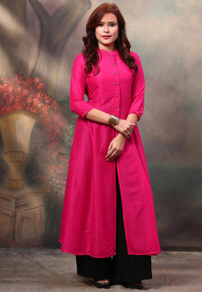Solid Color Rayon Cotton Front Slit Kurta in Fuchsia