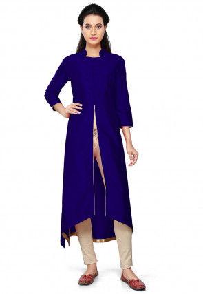 Solid Color Art Silk Front Slit Kurta Set in Navy Blue
