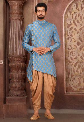 Solid Color Art Silk Jacquard Dhoti Kurta in Light Blue