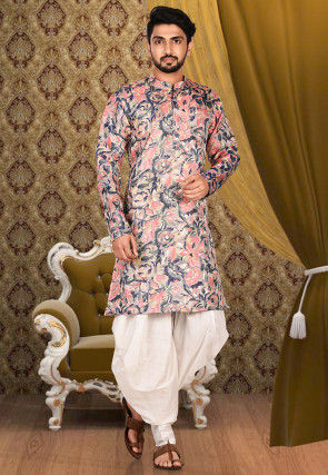 Solid Color Art Silk Jacquard Dhoti Kurta in Multicolor
