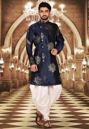 Solid Color Art Silk Jacquard Dhoti Kurta in Navy Blue