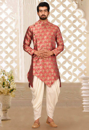 Solid Color Art Silk Jacquard Dhoti Kurta in Red and Beige