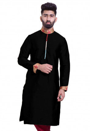 Solid Color Art Silk Kurta in Black