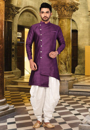 Solid Color Art Silk Kurta in Purple