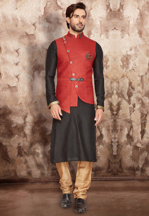 Solid Color Art Silk Kurta Jacket Set in Black and Red