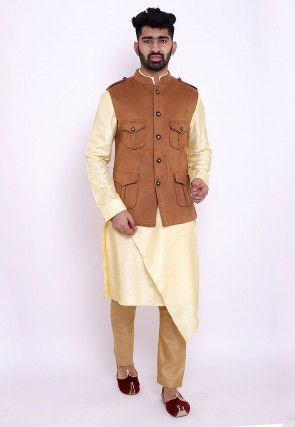 Solid Color Art Silk Kurta Jacket Set in Yellow and Brown