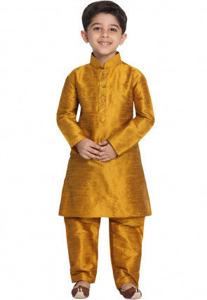 Solid Color Art Silk Kurta Set in Mustard