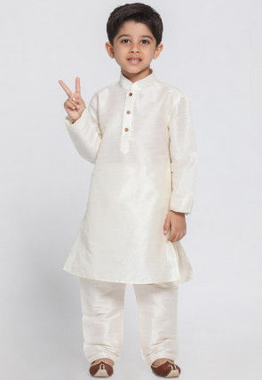 Solid Color Art Silk Kurta Set in Off White