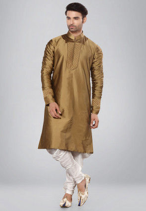 Solid Color Art Silk Kurta Set in Old Gold