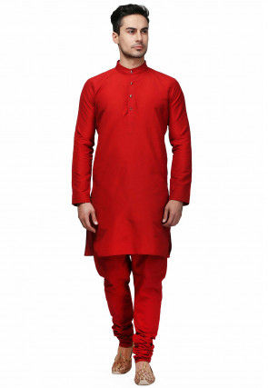 Solid Color Art Silk Kurta Set in Red