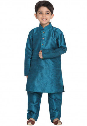 Solid Color Art Silk Kurta Set in Teal Blue