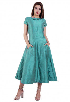 Solid Color Art Silk Midi Dress in Light Teal Blue