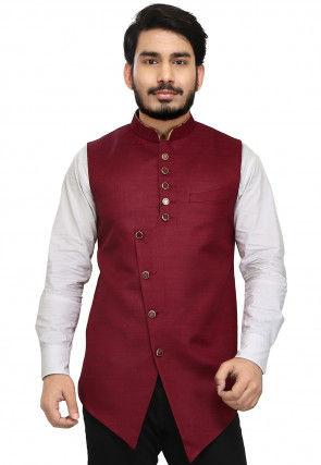 Solid Color Art Silk Nehru Jacket in Maroon