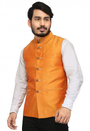 Solid Color Art Silk Nehru Jacket in Orange