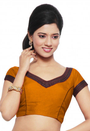 Solid Color Art Silk Padded Blouse in Mustard