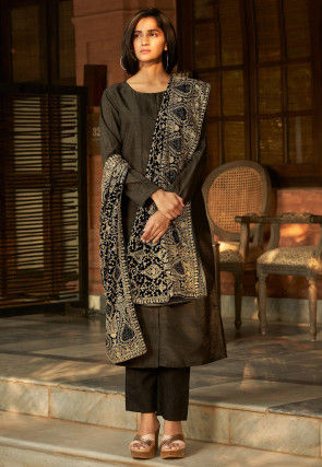 Solid Color Art Silk Pakistani Suit in Charcoal Black