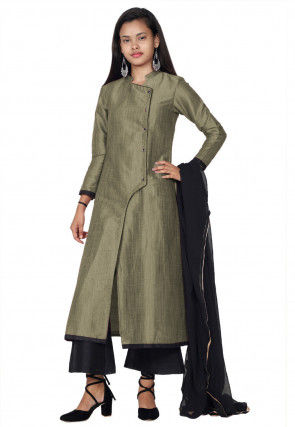 Solid Color Art Silk Pakistani Suit in Grey