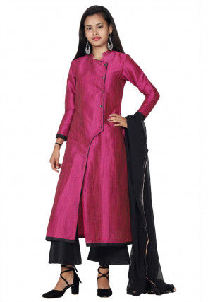 Solid Color Art Silk Pakistani Suit in Magenta