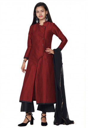 Solid Color Art Silk Pakistani Suit in Maroon
