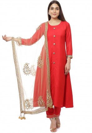 Solid Color Art Silk Pakistani Suit in Red