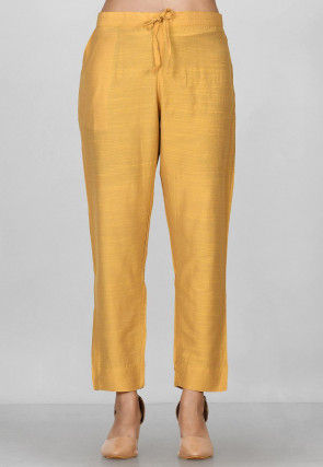 Solid Color Art Silk Pant in Mustard