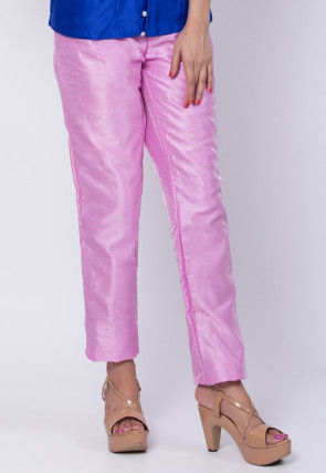 Solid Color Art Silk Pant in Pink
