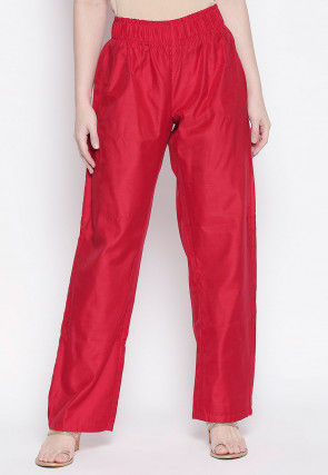 Solid Color Art Silk Pant in Red