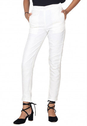 Solid Color Art Silk Pant in White