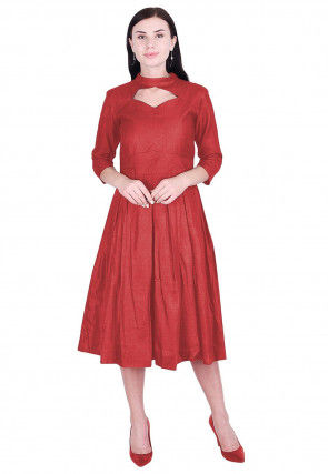 Solid Color Art Silk Pleated Dress in Coral Red