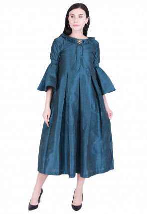 Solid Color Art Silk Pleated Dress in Teal Blue