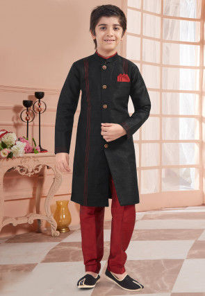 Solid Color Art Silk Sherwani in Black