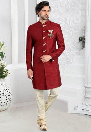 Solid Color Art Silk Sherwani in Maroon