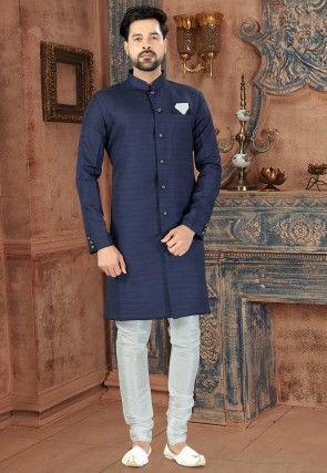 Solid Color Art Silk Sherwani in Navy Blue