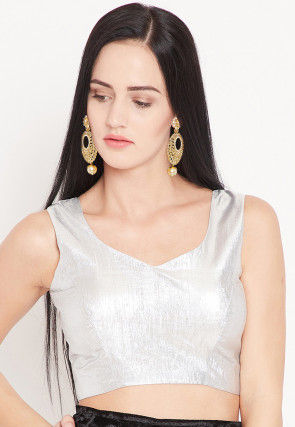 Solid Color Art Silk Shimmer Blouse in Silver
