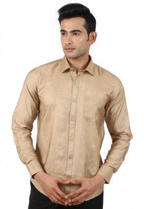 Solid Color Art Silk Shirt in Beige