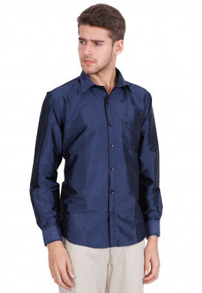 Solid Color Art Silk Shirt in Blue