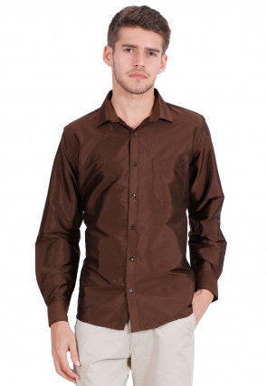 Solid Color Art Silk Shirt in Brown