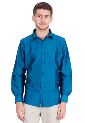 Solid Color Art Silk Shirt in Dark Blue