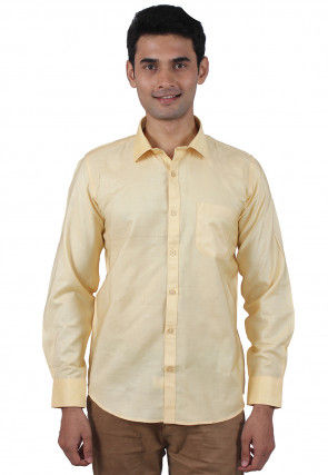 Solid Color Art Silk Shirt in Light Yellow