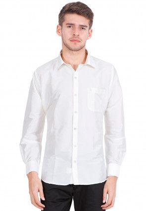 Solid Color Art Silk Shirt in Off White