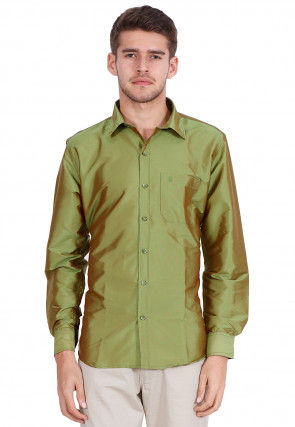 Solid Color Art Silk Shirt in Olive Green