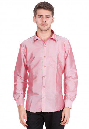 Solid Color Art Silk Shirt in Pink