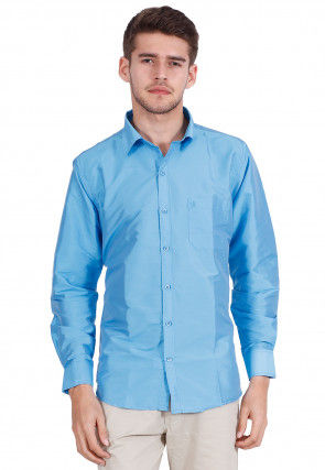 Solid Color Art Silk Shirt in Sky Blue