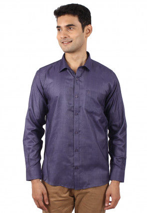 Solid Color Art Silk Shirt in Violet