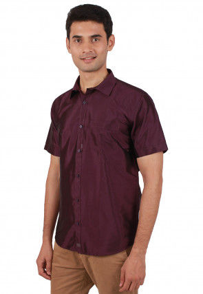 Solid Color Art Silk Shirt in Wine Purple
