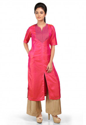 Solid Color Art Silk Slitted Kurta Set in Fuchsia