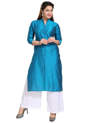 Solid Color Art Silk Straight Kurta in Blue