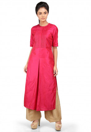 Solid Color Art Silk Straight Kurta Set in Fuchsia